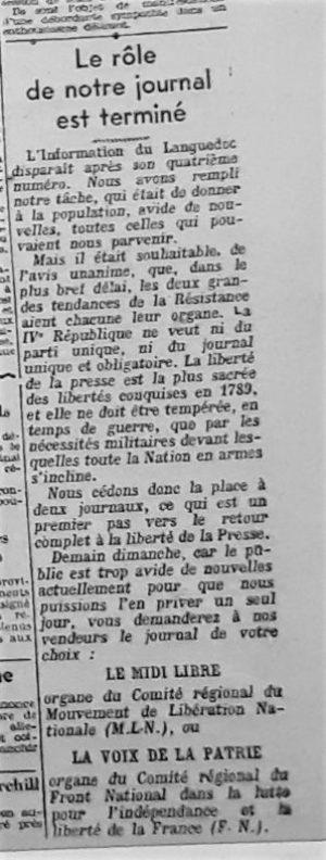 Sabordage naissance de Midi-Libre
